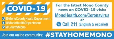 Ad for #StayHomeMono social media campaign put on by Mono County due to Covid 19