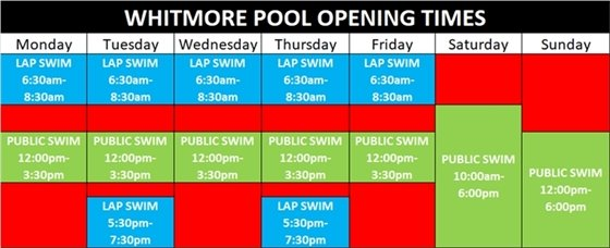 Whitmore Pool Opening Times