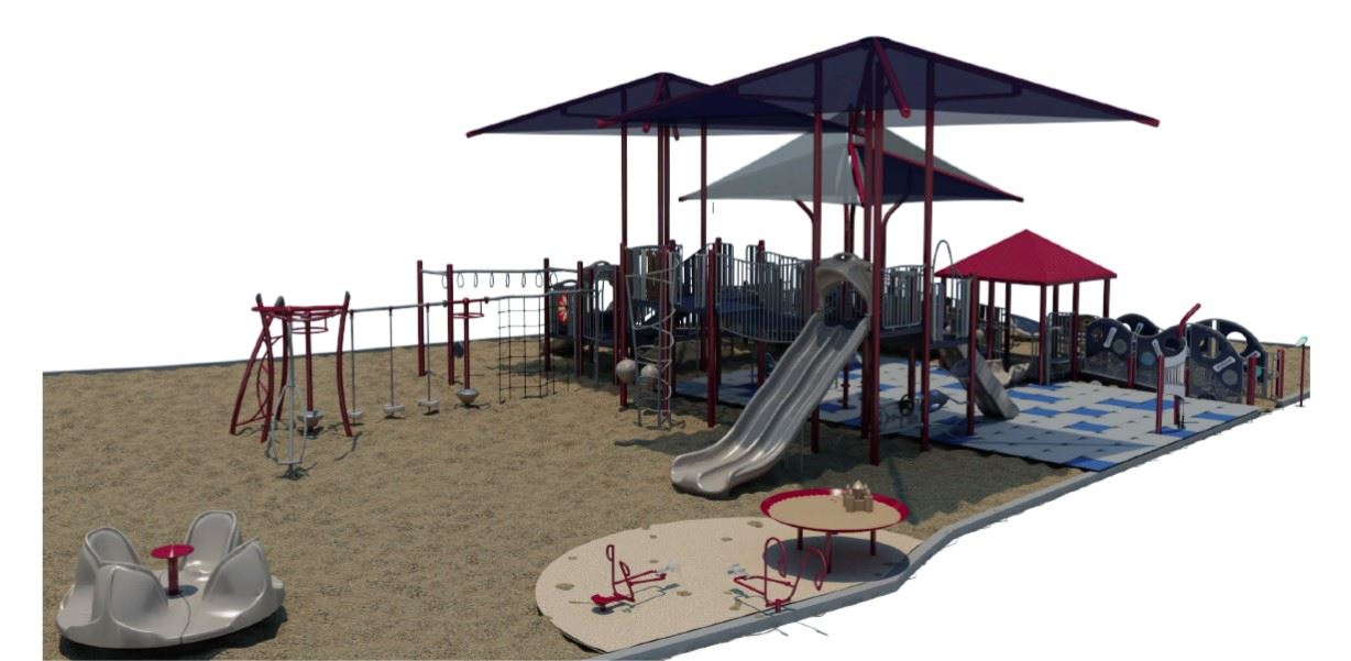Drawings of the new inclusive playground to be installed at Mammoth Creek Park. This view shows the