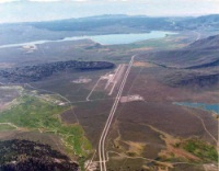 Aerial view of the Mammoth Yosemite Airport